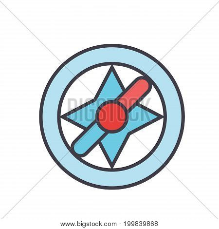 Compass, navigation concept. Line vector icon. Editable stroke. Flat linear illustration isolated on white background