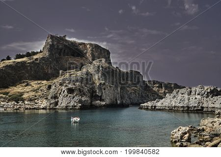 Medieval fortress on top of a rock in the city of Lindos