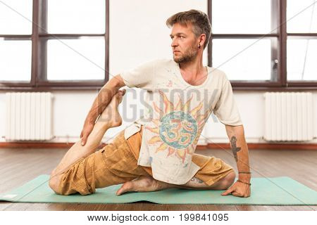 Man practicing yoga
