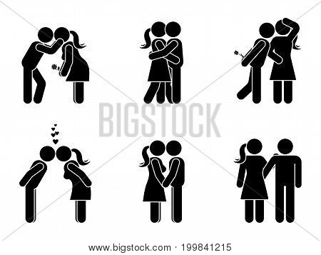 Stick figure kissing couple set. Man and woman in love vector illustration on white. Boyfriend and girlfriend hugging cuddling and holding hand pictogram