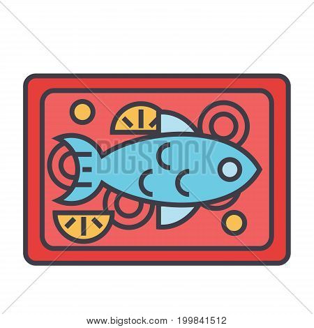 Fish restaurant dish concept. Line vector icon. Editable stroke. Flat linear illustration isolated on white background