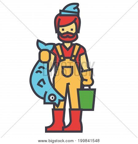 Fisherman with fish concept. Line vector icon. Editable stroke. Flat linear illustration isolated on white background