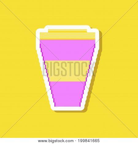 paper sticker on stylish background coffee to go