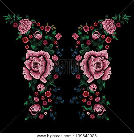 Embroidery traditional neckline pattern with blackberry and peonies. Vector embroidered floral patch sketch with flowers for clothing design.