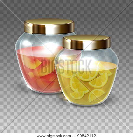 Vector Glass jars of jam on a plaid background, vector illustration