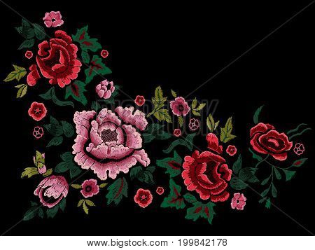 Embroidery traditional simplify pattern with roses and peonies. Vector embroidered floral patch sketch with flowers for clothing design.