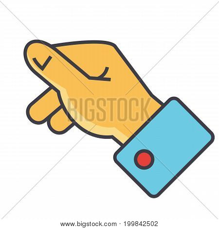 Hand holding concept. Line vector icon. Editable stroke. Flat linear illustration isolated on white background