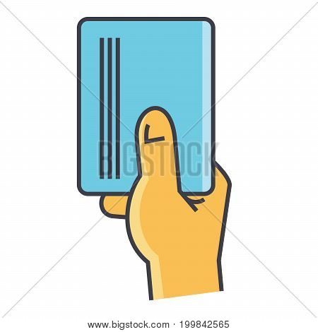 Businessman hand holding empty blank paper or visit card concept. Line vector icon. Editable stroke. Flat linear illustration isolated on white background