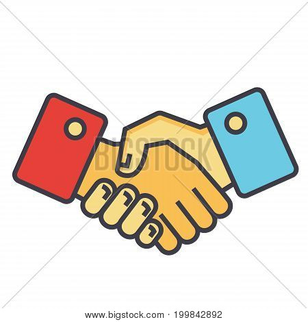 Handshake, partnership concept. Line vector icon. Editable stroke. Flat linear illustration isolated on white background