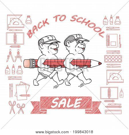 Back to School Sale. Vector artwork design with a Cute Bears, pencil and education supplies icons set isolated on white.
