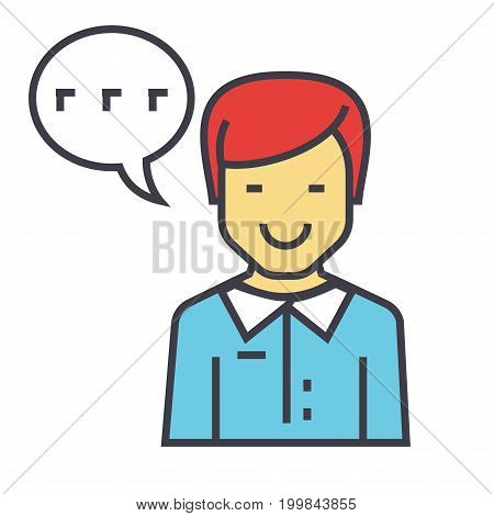Man talks, client support, customer help service concept. Line vector icon. Editable stroke. Flat linear illustration isolated on white background
