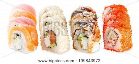 Fusion Set Sushi Plate Isolated On White