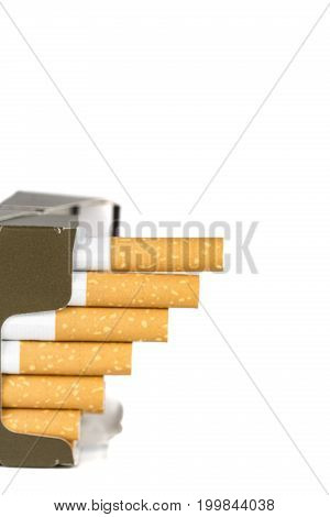 20 and 50 Euro banknotes bills cash with cigarettes increase graph made with cigarettes. Concept of cost of tabacco cigarettes. Front and top view close-up.