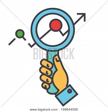 Magnifying glass charts, market research, zoom in hand, searching trends, financial statemants concept. Line vector icon. Editable stroke. Flat linear illustration isolated on white background