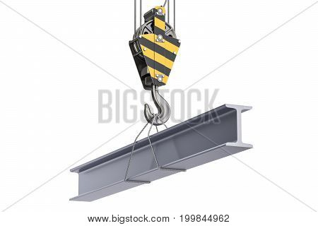 Crane hook with channel H-beam. 3D rendering isolated on white background
