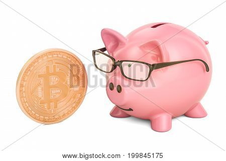 Piggy bank with bitcoin 3D rendering isolated on white background