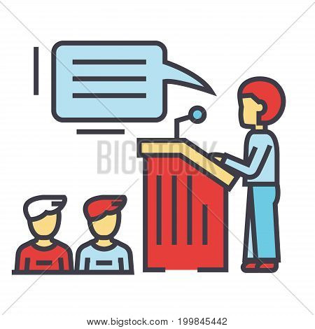 Speaker presentation, podium, tribune stand, politician concept. Line vector icon. Editable stroke. Flat linear illustration isolated on white background