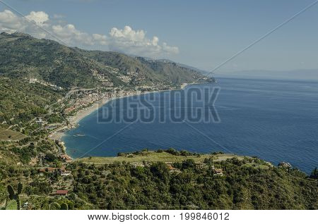 Panoramic view of the Sicilian coastline and neighboring territory