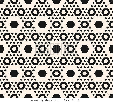 Simple geometric seamless pattern with big and small hexagons in hexagonal grid. Abstract modern background texture. Monochrome repeat illustration. Design for home, decor, fabric, furniture, covers.