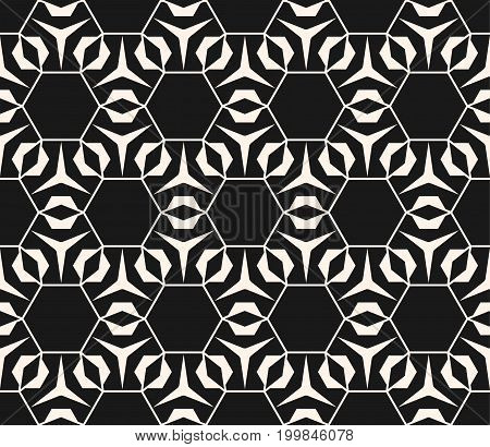 Geometric seamless pattern with triangular shapes, thin lines, hexagonal grid. Subtle vector geometrical texture. Abstract repeat monochrome background, repeat tiles. Elegant dark design element.