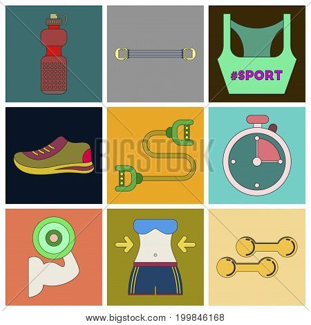 Set of Icons in flat design Fitness equipment