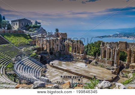 Close-up of ancient greek theater of taormina italian coast and mediterranean sea sicily