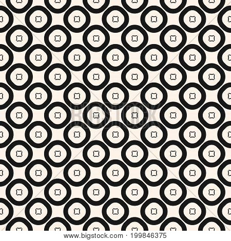Simple vector geometric texture with small outline circles and squares. Abstract repeat geometrical background. Monochrome seamless pattern. Tileable design for decor, fabric, textile, wrapping, cloth.