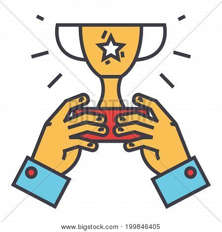 Winner cup, trophy in hands, champion victory concept. Line vector icon. Editable stroke. Flat linear illustration isolated on white background