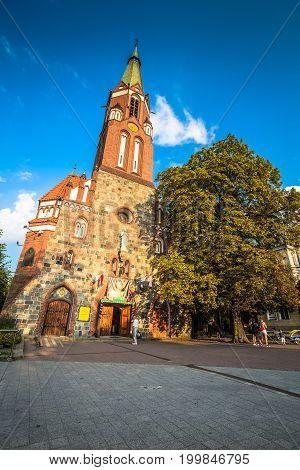 SopotPoland-September 72016 Garrison Church tower religious architecture