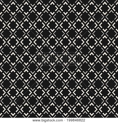 Vector geometric seamless pattern. Modern abstract texture with small linear rhombuses, thin lines, repeat tiles. Simple monochrome background. Dark design for decor, package, covers, upholstery, web. Rhombus pattern, diamond pattern, x pattern.