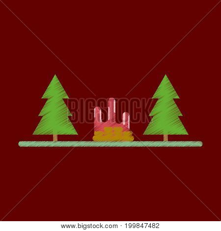 Flat Icon in Shading Style Bonfire in forest