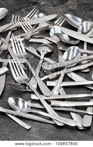 many cutlery spoon knife fork close up photo