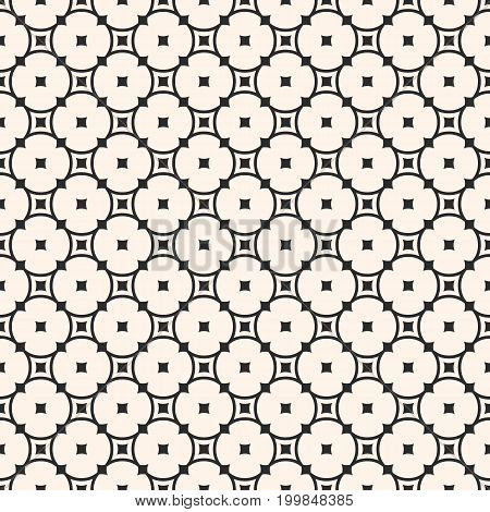 Ornamental seamless pattern. Simple elegant geometric texture with rounded lattice, circles, squares. Round mesh texture. Abstract monochrome repeat background. Design for decor, fabric, cloth. Oriental pattern, design pattern.