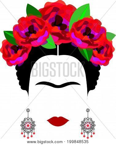 portrait of Mexican or Spanish woman minimalist Frida Kahlo with crafts earrings and red flowers , vector isolated