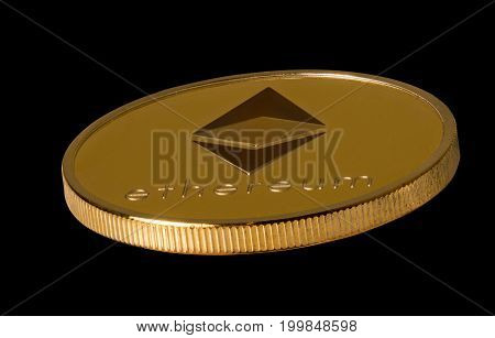 Isolated macro image of a single ether or ethereum coin against black background