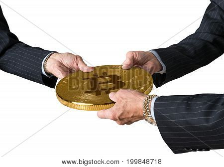 Hands of three financial traders gripping bitcoin isolated against a white background
