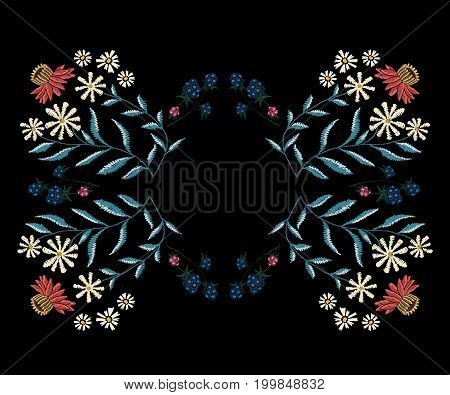 Embroidery native pattern with simplify chamomiles and blackberry. Vector embroidered traditional floral frame with flowers.