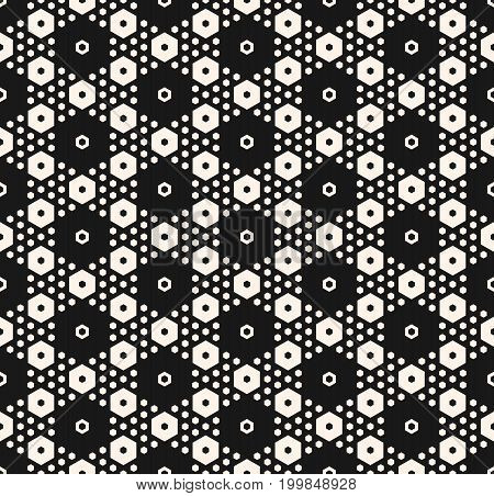 Simple geometric background texture with different hexagons in hexagonal grid. Abstract modern seamless pattern. Perforated surface, repeat tiles. Design for decor, fabric, covers, printing, embossing.