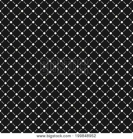 Vector minimalist seamless pattern, simple monochrome geometric texture with tiny circles and lines in diagonal grid. Abstract minimal background, repeat tiles. Dark stylish design for fabric, covers.
