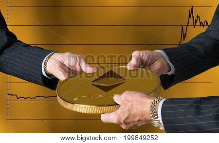 Hands of three financial traders gripping ether or ethereum against a background of rising prices for the currency
