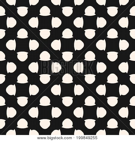 Vintage seamless pattern with simple geometric figures, floral shapes, spots. Abstract monochrome texture, perforated surface. Retro style background, repeat tiles. Design for decor, textile, fabric. Design pattern, retro pattern.