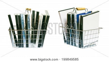 a shopping basket full with  dvds - side and diagonal view.