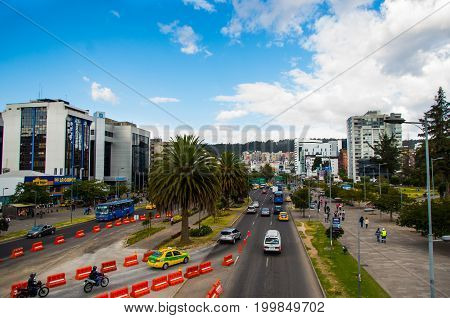 Quito, Pichincha Ecuador - August 10 2017: View of the Naciones Unidas avenue north part of the city of Quito with new buildings in the background, top view.