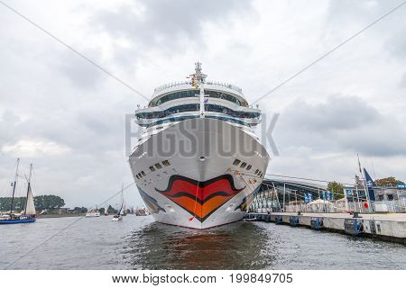 WARNEMUENDE / GERMANY - AUGUST 12 2017: AIDA mar lies on harbour at public event hanse sail in warnemuende germany.