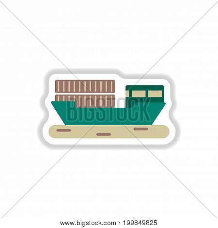 paper sticker on white background Ship with containers