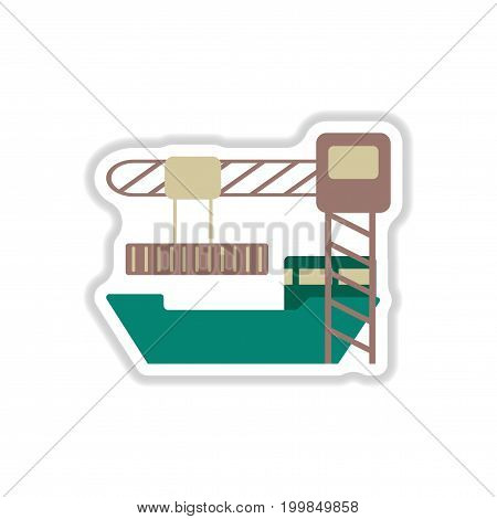 paper sticker on white background Container loading