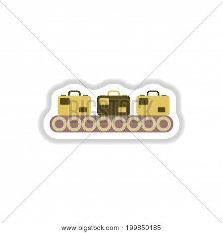 paper sticker on white background suitcases airport