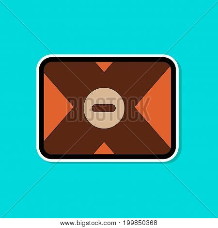 paper sticker on stylish background of removable hard drive