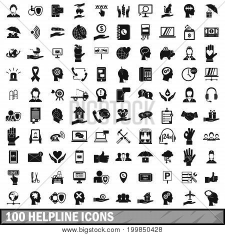 100 helpline icons set in simple style for any design vector illustration