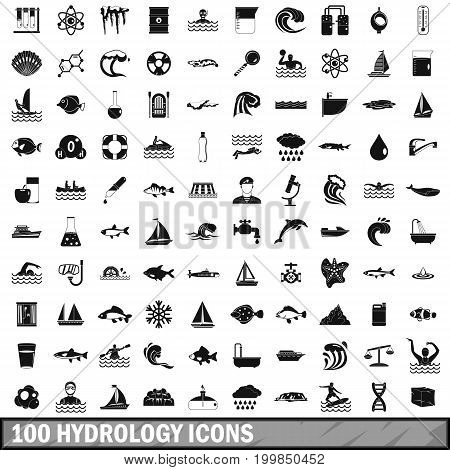 100 hydrology icons set in simple style for any design vector illustration